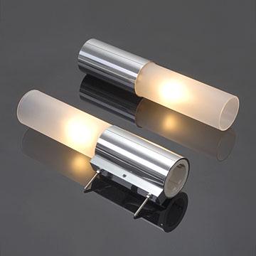 spiegelleuchte spiegellampe candle 2x e14 mit schalter und steckdose echtglas ebay. Black Bedroom Furniture Sets. Home Design Ideas